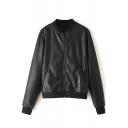 Black Plain Stand Collar Zip PU Jacket