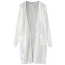 Plain Long Sleeve Open Knit Long Cardigan