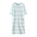 Short Sleeve Stripe Print Pocket Shift Dress