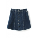 Plain High Waist Single-Breasted A-Line Denim Skirt