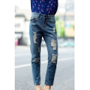 Blue Ripped Distressed Mid Wash Jeans