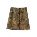 Camouflage Print Button Denim Mini Skirt
