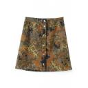 Camouflage Print Button Denim Mini Skirt