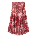 Floral Ink Print High Waist Slit Front Asymmetric Midi Skirt