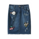Cartoon Applique Pockets Ripped Denim Pencil Skirt