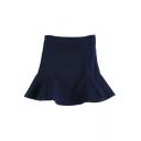 Plain High Waist Ruffle Hem Wrap Mini Skirt