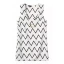 White Wave Print Cutout Sleeveless V-Neck Dress