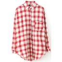 Plaid Letter Print Long Sleeve Tunic Shirt