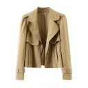 Plain Notched Lapel Long Sleeve Open Front Coat