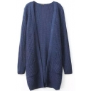 Plain Open Front Long Sleeve Double Pocket Cardigan