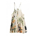 Floral Print Cami Slip Dress with Lace Detail