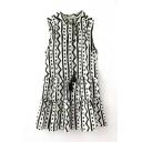 Sleeveless Stand Up Collar Geometric Print Dress