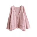 Double Pocket Single Breast V-Neck Cardigan