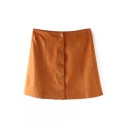 Plain High Waist Single-Breasted A-Line Mini Skirt