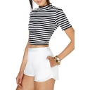 Plain Zip Back Chiffon High Waist Shorts
