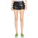 PU Plain Zip Fly Wave Detail Hotpant shorts