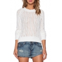 White Plain Cutout Round Neck Long Sleeve Sweater