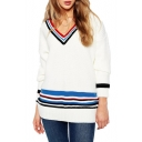 White Striped V-Neck Long Sleeve Loose Sweater