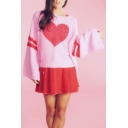 Red Heart Pattern Flare Long Sleeve Loose Sweater