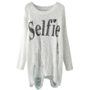 White Selfie Print Round Neck Long Sleeve Ripped Sweater
