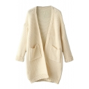 Plain  Double Pocket Open Front Long Sleeve Cardigan