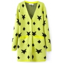 Star Box Print V-Neck Double Pocket Tunic Cardigan