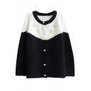Color Block Round Collar Single-Breasted Beaded Long Sleeve Knit Cardigan
