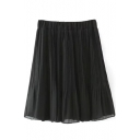 Plain Elasticated High Rise Pleated Skirt