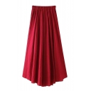 Plain Elasticated Asymmetric Maxi Skirt