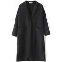Black Notched Lapel Long Sleeve Single Button Tunic Coat