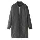 Plain Stand Collar Long Sleeve Tunic Zip Coat