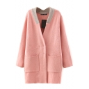 Contrast Collar Double-Breasted Long Sleeve Cardigan
