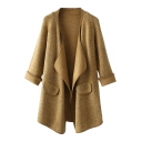 Plain Lapel Cuffed Long Sleeve Woolen Cardigan