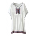 Tribal Embroidery Round Neck Tie Front Batwing Sleeve Dress