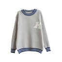 Gray Round Neck Raglan Sleeve Letter Jacquard Sweater