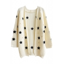 Stars Embroidery V-Neck Open Front Long Sleeve Knit Cardigan