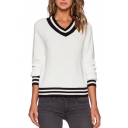 White Striped Trimmed Long Sleeve V-Neck Sweater