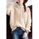 Apricot Round Neck Long Sleeve Cable Knitted Sweater