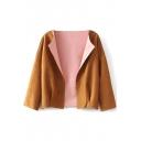 Khaki Lapel Long Sleeve Suede Crop Coat