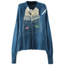 Long Sleeve Animal Embroidered Stand Up Collar Cardigan