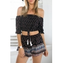 Tribal Black Off-the-Shoulder Drawstring Waist Crop Top with Shorts Co-ords