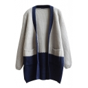 Colorblock V-Neck Double Pocket Open Front Long Sleeve Tunic Cardigan