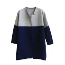 Colorblock Stand Collar Open Front Long Sleeve Tunic Cardigan