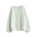 Plain V-Neck Single-Breasted Long Sleeve Knit Woolen Cardigan