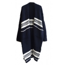 Stripe V-Neck Open Front Double Pocket Long Sleeve Knit Tunic Cardigan