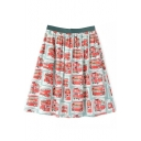 Bus Print High Waist Bubble Skirt