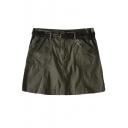 Plain High Rise Double Pocket A-Line Wrap Mini Skirt with Belt