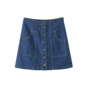Plain Button Double Pocket High Waist Denim A-Line Skirt