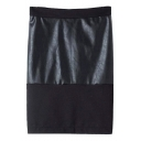 Plain High Waist PU Insert Zip Back Midi Tube Skirt