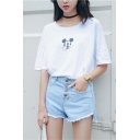 High Waist Button Fly Tassel Trim Denim Shorts